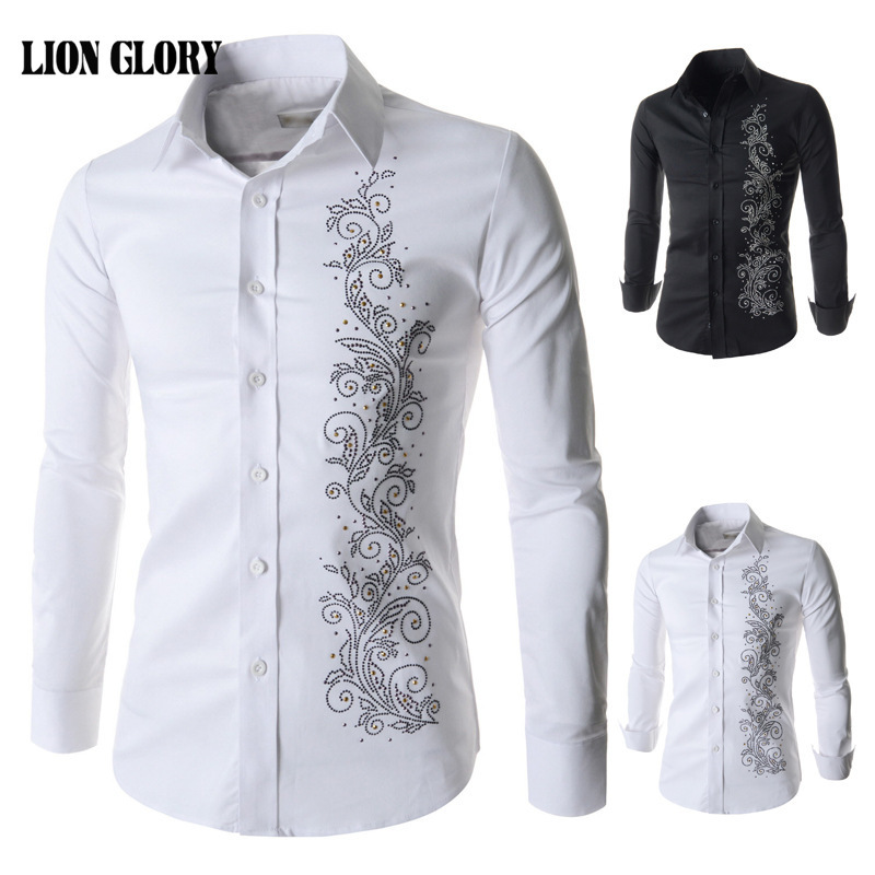 Fashion Evening Men Dress Shirt Casual Long sleeved Shirt Men s Slim Fashion Printing Diamond Decoration