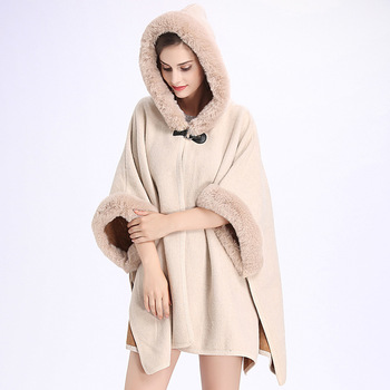 Faux Fur Coat Women Winter Fashion Beige Poncho And Capes Women Fake Fur Hooded Casual Cloak Long Women Sweater Knitted Cardigan