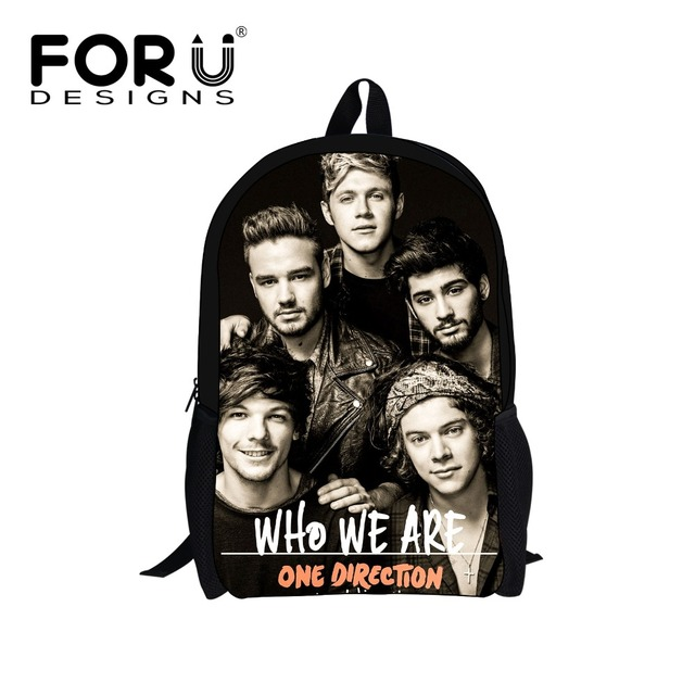 FORU DESIGNS Primary Kids Bags 1D One Direction Printing Boys School Bags Child Girls Mochilas escolares infantis 2017 gifts bag
