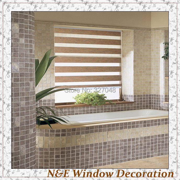 Free shipping 100% polyester blackout bathroom window curtain window ...
