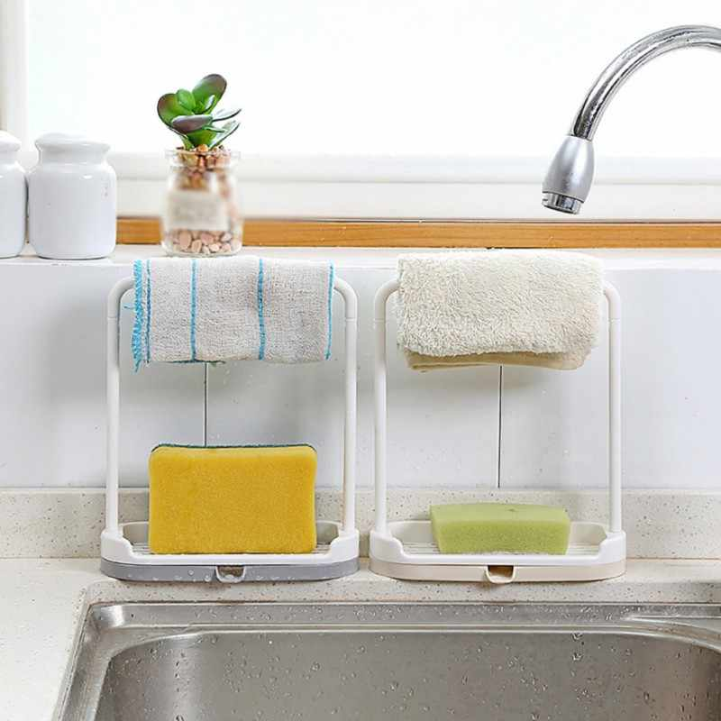 Cleaning Cloth Rag Hanger 2 In 1 Multi-function Kitchen Sink Caddy Sponge  Soap Holder Plastic Sink Organizer Supplies