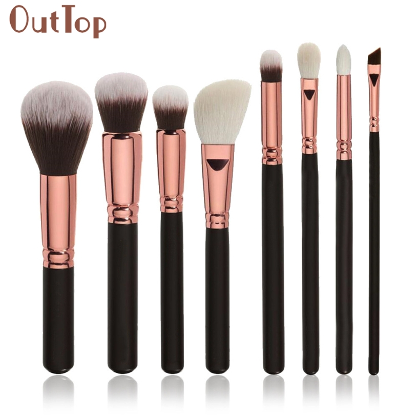 Best Deal OutTop Good Quality 8pcs Cosmetic Tools Soft Makeup Brush Blusher Eye Shadow Foundation Loose Powder Brushes Set Kits outtop best deal new good quality pink colour sponge puff 24 pcs cosmetic makeup brushes foundation brushes tool 1 set