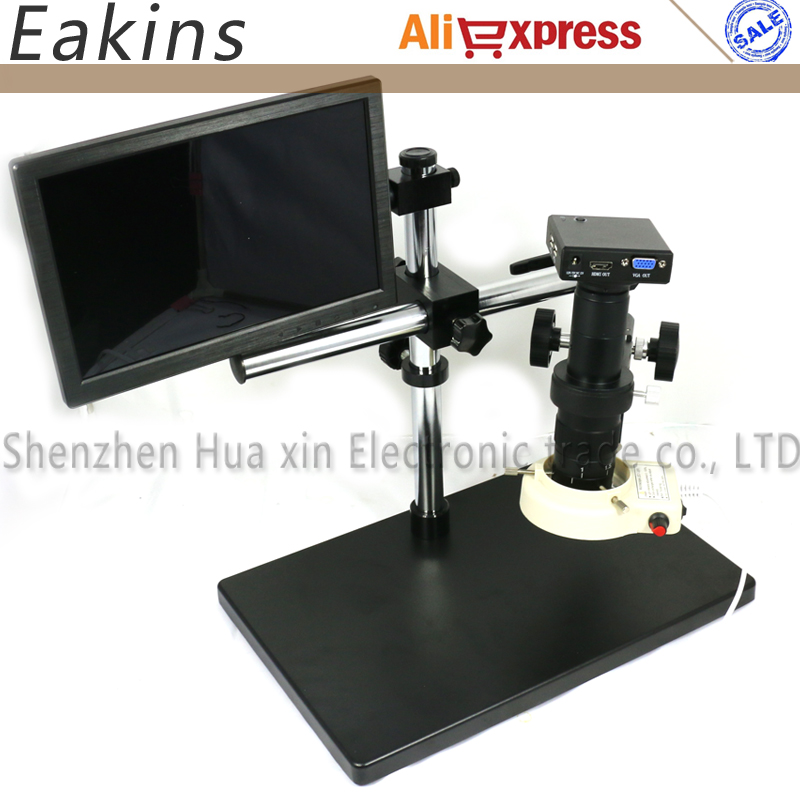 Ensemble complet HD 1080 P HDMI VGA 'Industrie Électronique Microscope Caméra + LED Light Ring + 180X/300X C-monture + 10.1 LCD Moniteur + Stand