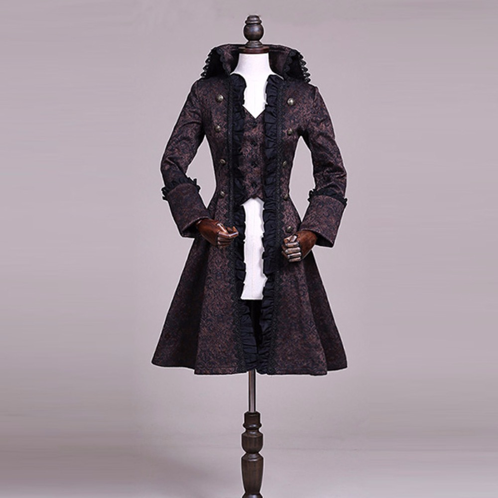 New Spring Autumn women's Vintage Lolita Cotume Europe Palace Flounce Jacquard Dress Slim Long   Trench   Coat