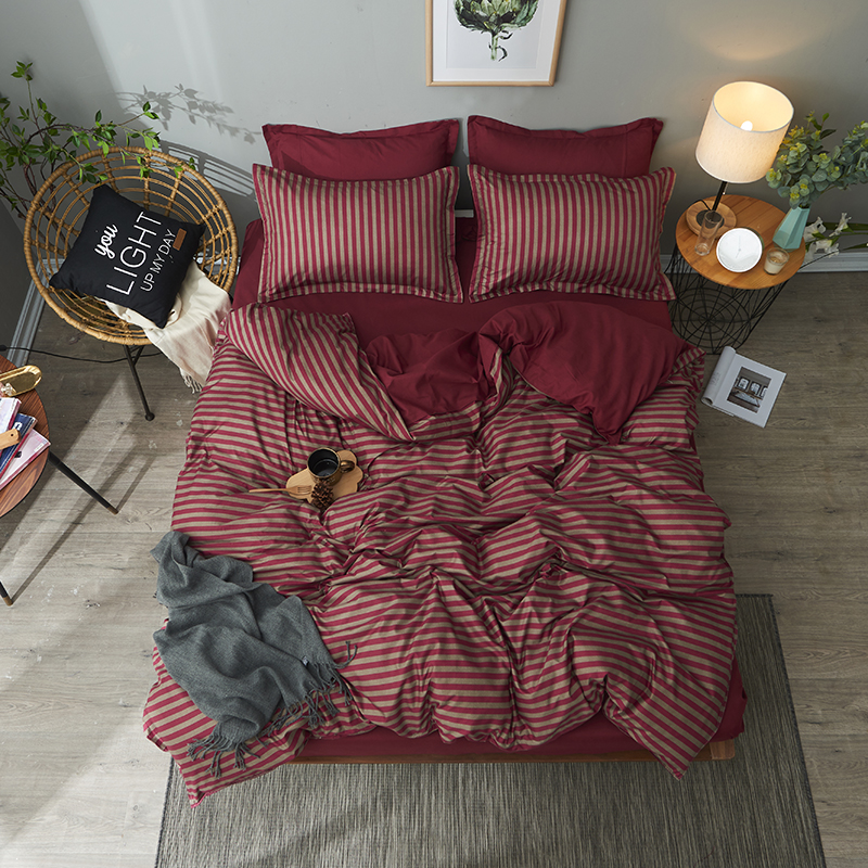 Red Brown Stripe Luxurious Home Textile Bedlinen Duvet Cover Pillow Case Bed Sheet Quilt Cover Bedding Set 3/4pcs Sell Well Comfortable And Easy To Wear Bedding