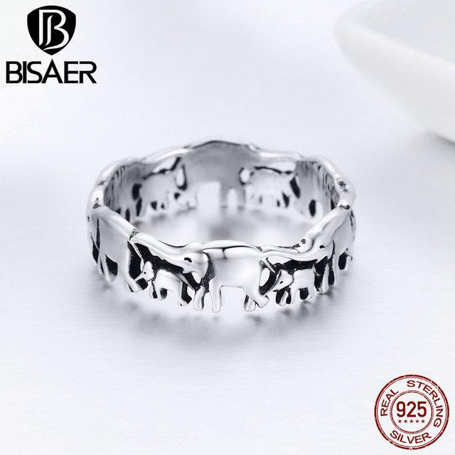 BISAER Original 2019 925 Sterling Silver Vintage Ethnic elephant Animal Stackable Women Finger Rings Vintage Silver Bague GXR344 1