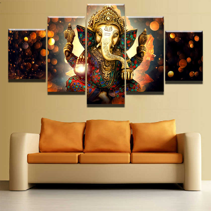 Canvas Painting For Living Room Wall Art Framework 5 Pieces Elephant Trunk God Modular Poster Prints Ganesha Picture Home Decor