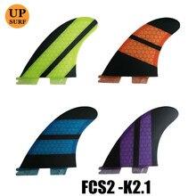 Купить с кэшбэком FCS2 Surfboard Fins Purple Honeycomb Fin Tri-Set Surf Quilhas FCSII K2.1 Fin