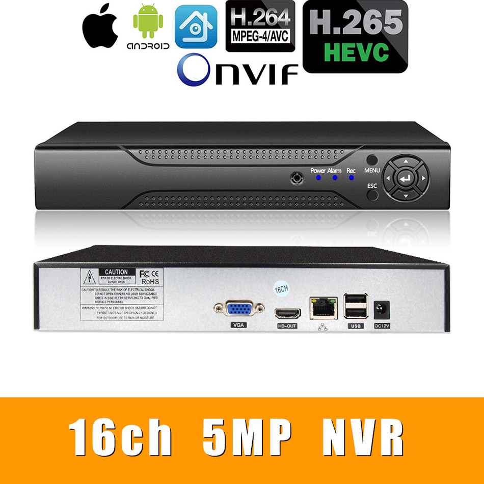 H.265 +/Vidoe Gravador NVR Rede H.264 16ch * 5.0MP análise Inteligente 1080 P/720 P IP Câmera com cabo SATA ONVIF CMS XMEYE