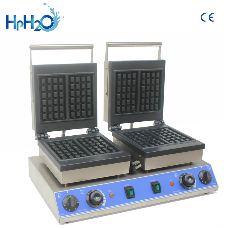 Commercial Non-stick double head electric square waffle maker machine customs plate waffle machine cake ovenCommercial Non-stick double head electric square waffle maker machine customs plate waffle machine cake oven