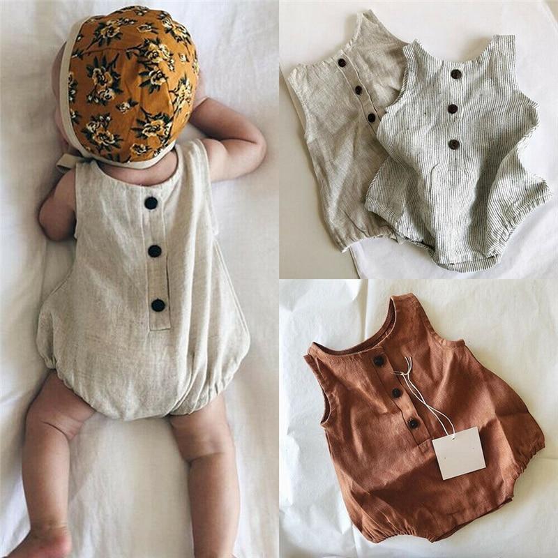 2019 Summer Newborn Baby Girl Boy Clothes Cotton Linen Sleeveless Button Bodysuit Outfits Set