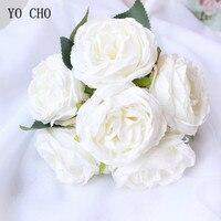 YO CHO Свадебный букет Шелковая Красная Роза Пион искусственный цветок розовый белый свадебный букет для невесты подружки невесты свадебные ...