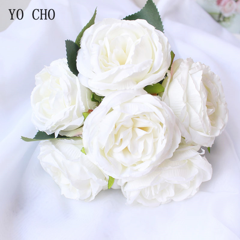 YO CHO Wedding Bouquet Silk Red Rose Peony Fake Flower Pink White Wedding Bouquet For Bridal Bridesmaid Mariage Wedding Supplies