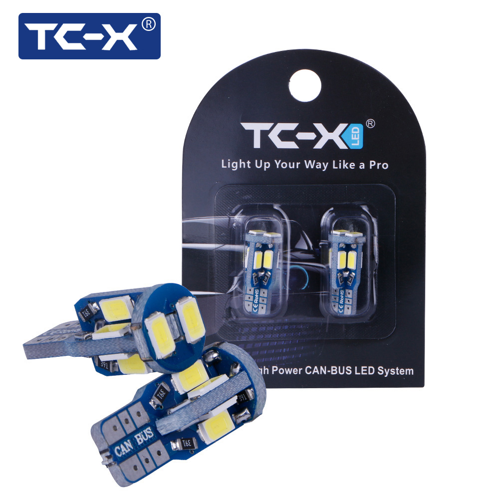 TC-X 2pcs Car Styling T10 LED Canbus W5W 10 leds 5730 SMD Bulb White 12V 6000K Interior Car Signal Lights for Parking Side Lamp 10pcs led car interior bulb canbus error free t10 white 5730 8smd led 12v car side wedge light white lamp auto bulb car styling