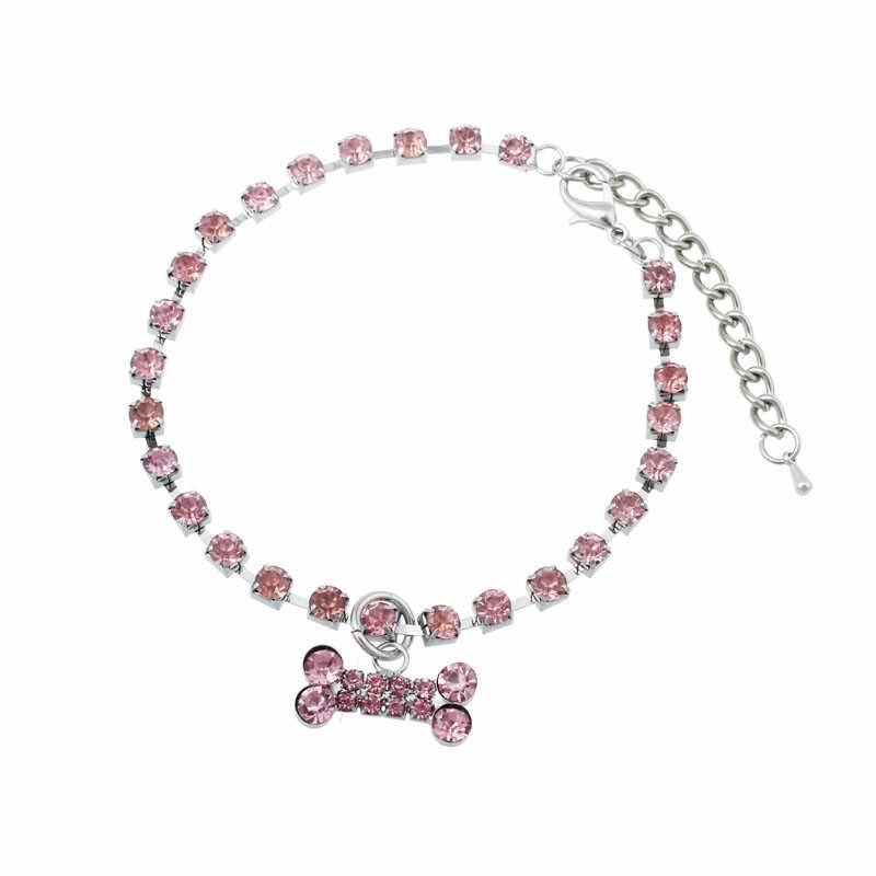 Akcesoria dla psów i kołnierz moda Diamante Bone wisiorek strasy Pet naszyjnik choker biżuteria z psami Collier Chien Strass