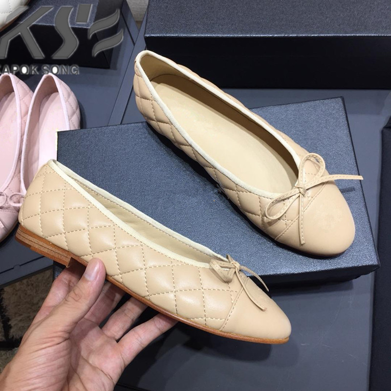 designer original mixted color flats women shoes fashional genuine really leather shoes luxury brand comfortable CC