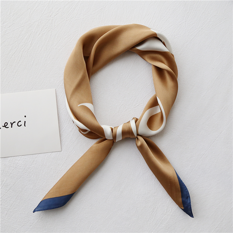 NEW Design Letters Printed Bandana Square Scarf For Ladies Fashionable Hair Handkerchief Women's Bag Sjaal Kerchief For Women