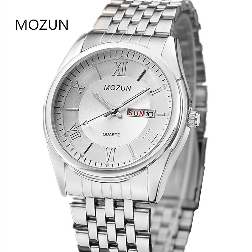 Fashion Watch Top Luxury Brand MOZUN Watch Men Stainless Steel Quartz-Watch Military Male Watches relogio masculino Clock Man skmei quartz man watch 2017 fashion mens watches top brand luxury stainless steel male wrist watch male clock relogio masculino