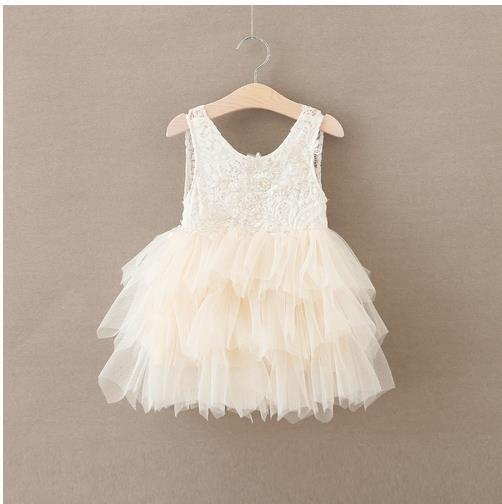 Retail 2017 Girls summer laceflower princess dress girls wedding dress girl dresses BW66