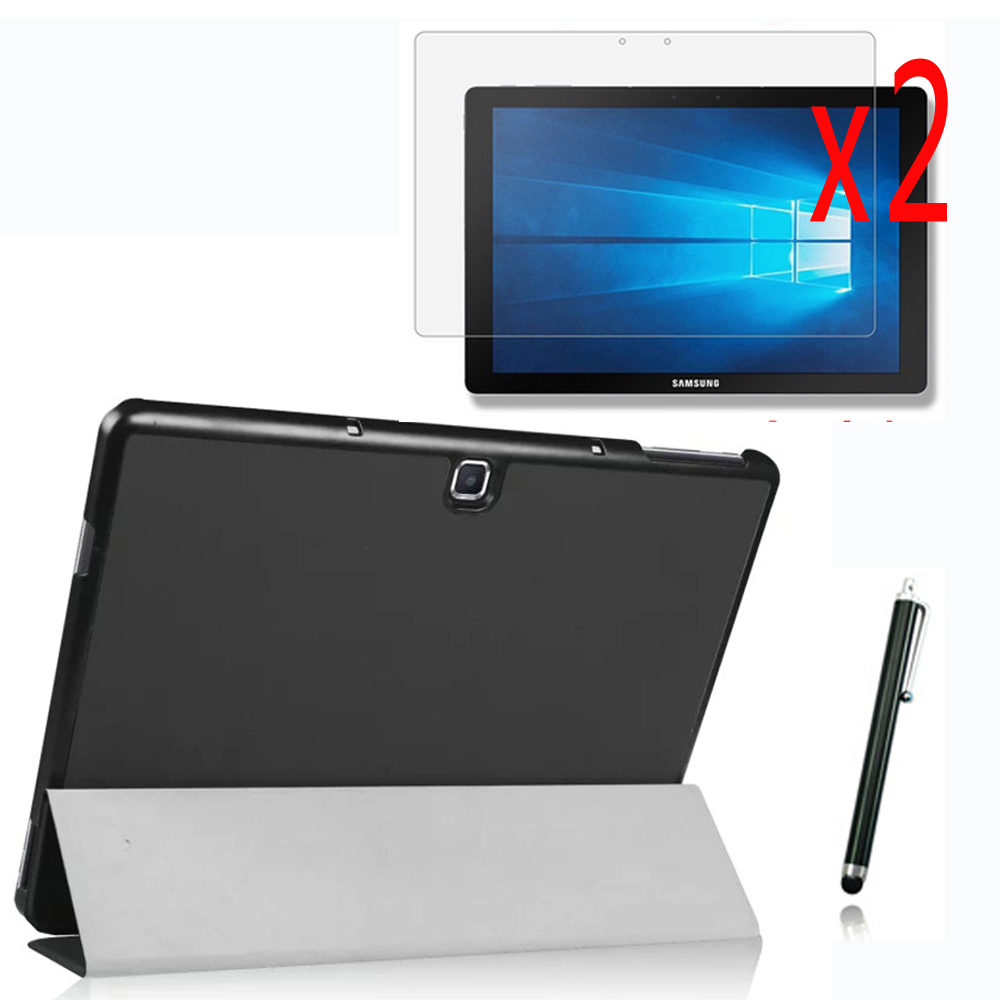 4in1 Ultra Slim Magnetic Luxury Folio Stand Leather Case Smart  Cover For Samsung Galaxy Tab Pro S W700 SM-W700 +2x Films+Stylus ultra thin folio pu leather stand smart case for cover samsung galaxy tab 4 10 1 t530w screen protector stylus pen free shipping