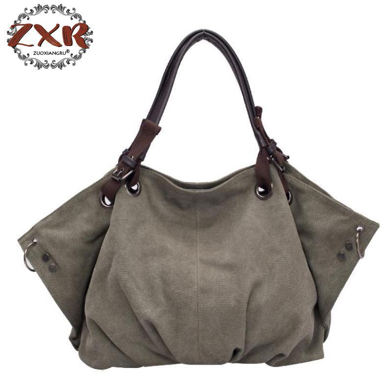 Canvas Handbag Large Hobos Bag Sell Totes Bolsas Ruched Solid Shoulder Bag