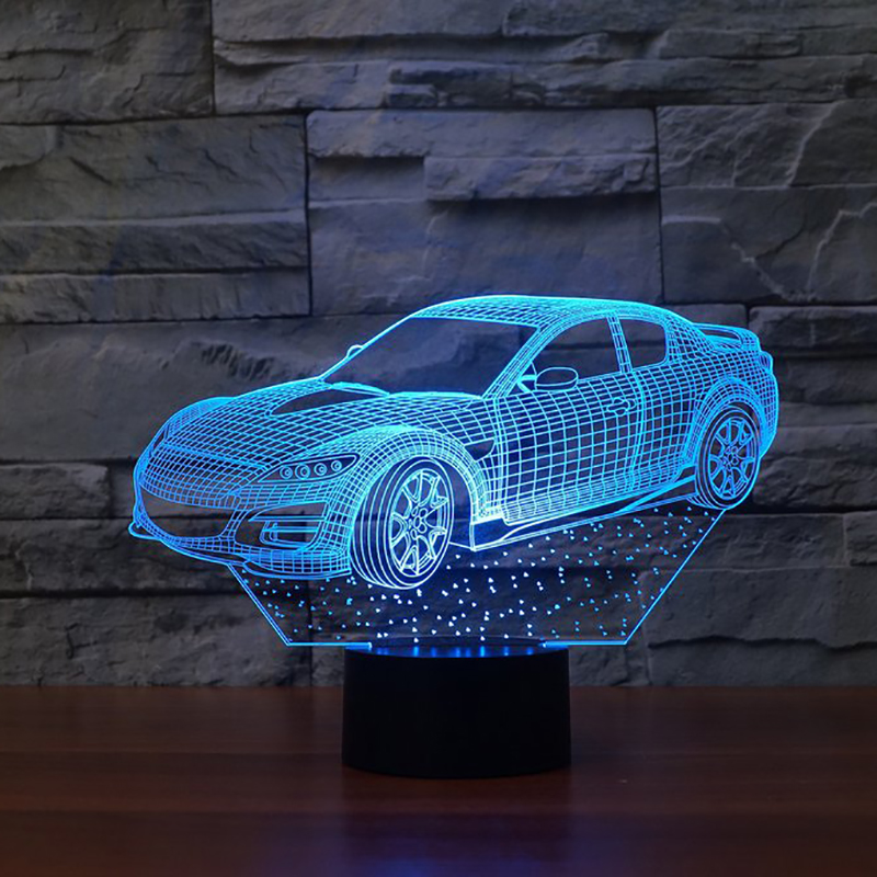 lampada led car 3D 7 Color Changing LED Luminaria Night Light Remote Touch Switch 3D Lamp Bedroom Lighting for Girls Toy Gift