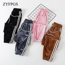 ZYFPGS 2019 Womens Nine Points Casual Pants Corduroy Fabric Women Plus Size Retro Waist Loose Z0710