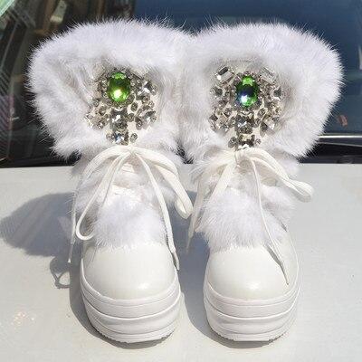 4 De 2018 Bottes Main 7 Chaussures Réel Grande 3 10 À 8 Fourrure Lapin 1 2 Épais Hauts Neige D'hiver 5 40 Diamant 6 Taille La 9 Plus l1TJF3Kc