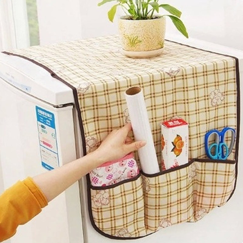 1Pcs Storage Bag Waterproof Home Accessories Freezer Top Bags Non-woven Refrigerator Dust Cover Multifunction Hanging Bag image