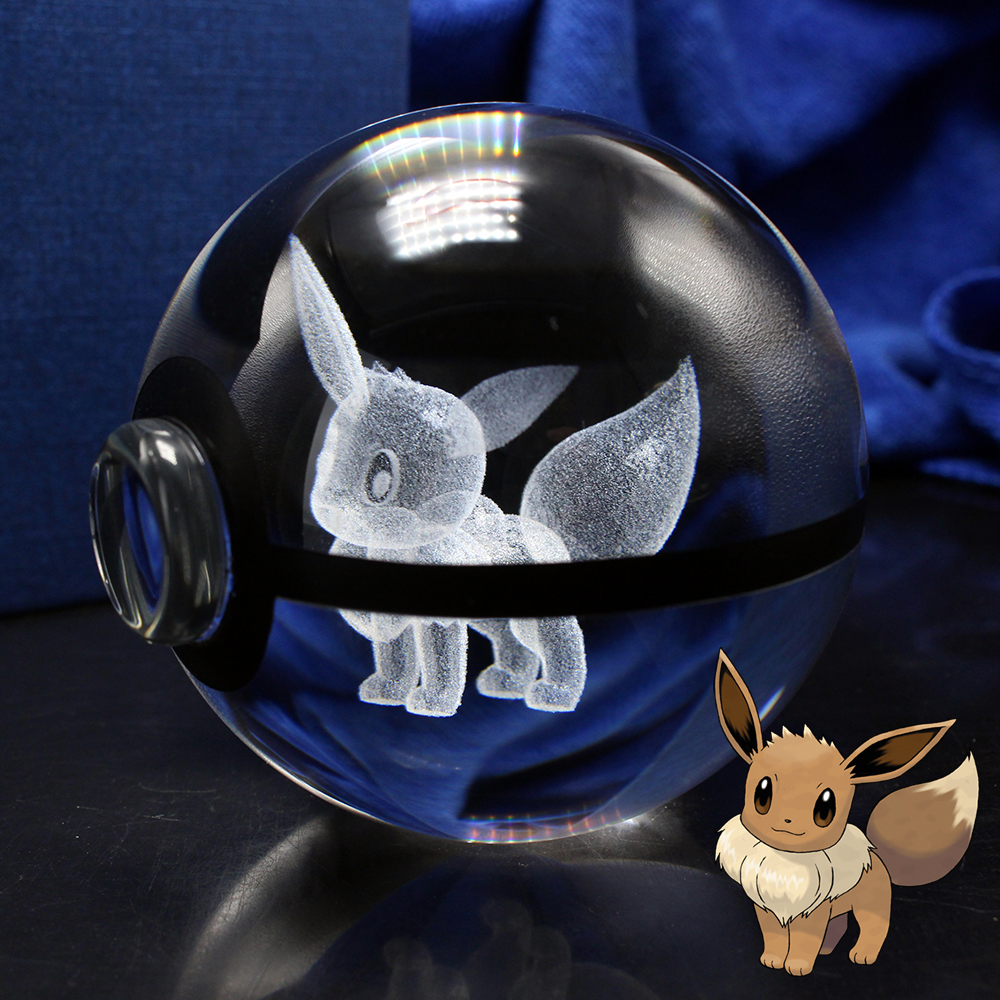 3D Laser Pokemon Go Crystal Eevee Sculptuurbal met Led Light Base voor Cartoon Souvenirs