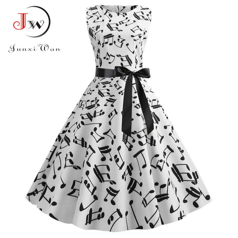 2019 Music Note Print Vrouwen Vintage Jurk Zomer Mouwloze O Hals Casual Retro Pin Up Party Jurk Vestidos Robe Femme plus Size