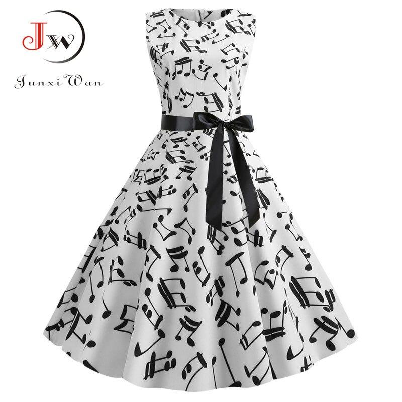 2019 Music Note Print Women Vintage Dress Summer Sleeveless O Neck Casual Retro Pin Up Party Dress Vestidos Robe Femme Plus Size