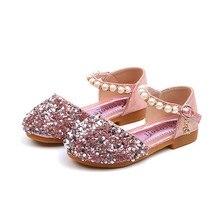 Детская кожаная обувь с блестками и жемчугом для девочек; коллекция года; обувь принцессы для девочек; тонкие туфли; модные босоножки с пуговицами; Zapato;# YL1