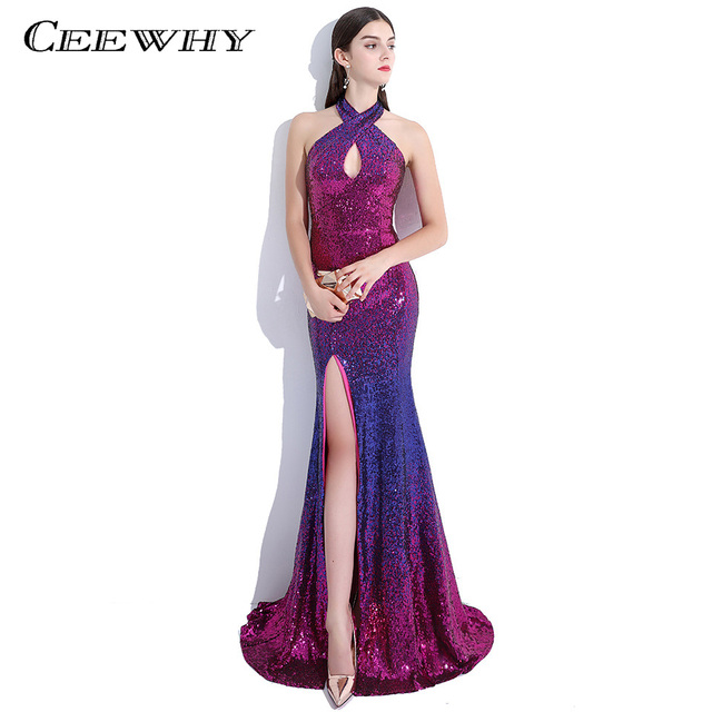 CEEWHY Halter Split Colorful Sequined Prom Dresses Court Train ...