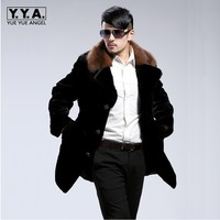 High Quality Faux Mink Fur Mens Overcoat Comfort Fur Collar Coat For Men Single Breasted Casual