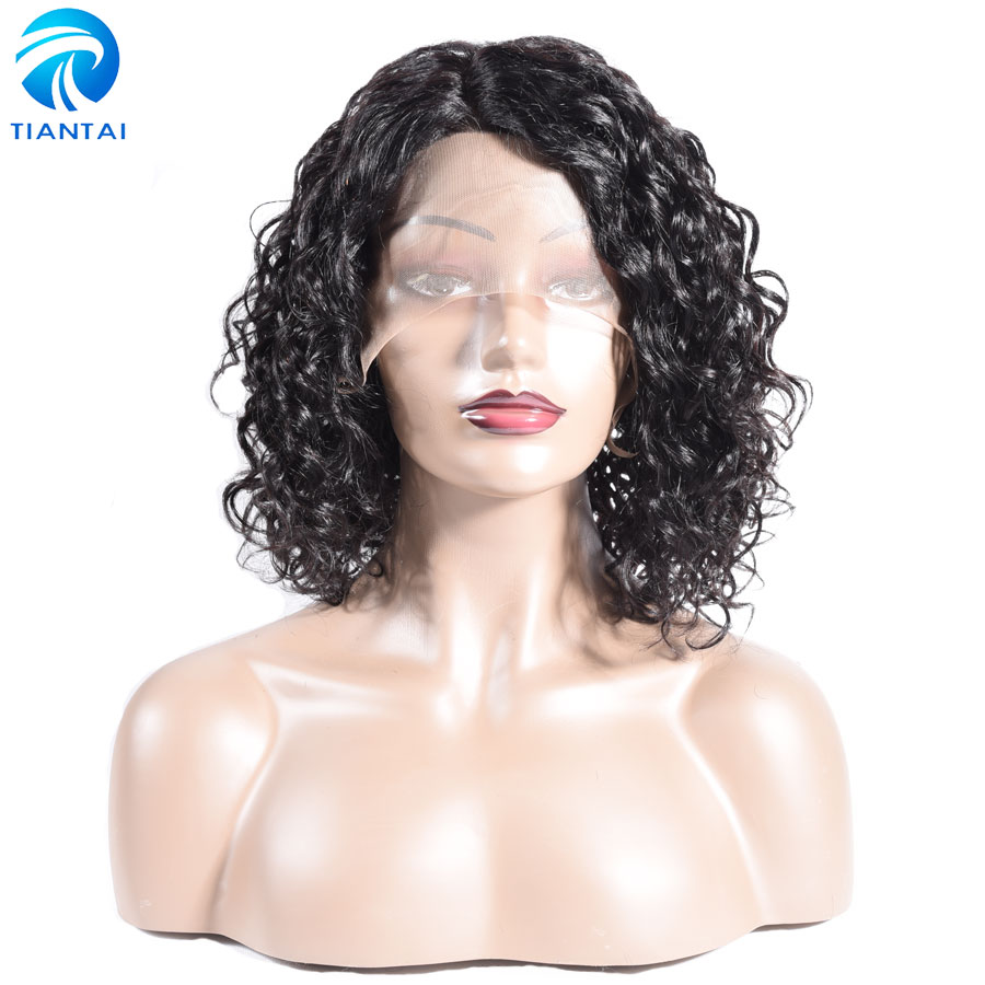 TIANTAI Water Wave Wig Short Bob Wig Left L Part Short Human Hair Lace Wigs For