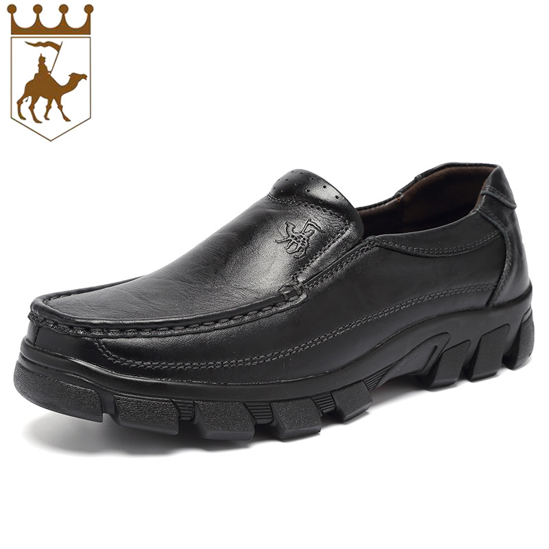 BCCKCAMEL Black Genuine Leather Shoes Men Slip Business Men Casual Shoes Oxfords Autumn Winter Keep Warm Fur Inside Comfor Soft new arrival high genuine leather comfortable casual shoes men cow suede loafers shoes soft breathable autumn and winter warm fur