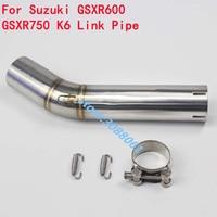 GSXR 600 750 Motorcycle Exhaust Coonecter Middle Pipe Motorbike Stainless Steel Link Pipe For SUZUKI GSXR600 GSXR750 K6 K7 K8