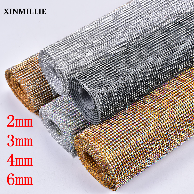Rhinestone Applique 2mm 3mm 4mm 6mm Clear Crystal AB Trim Roll Hotfix Adhesive Silver Gold Base