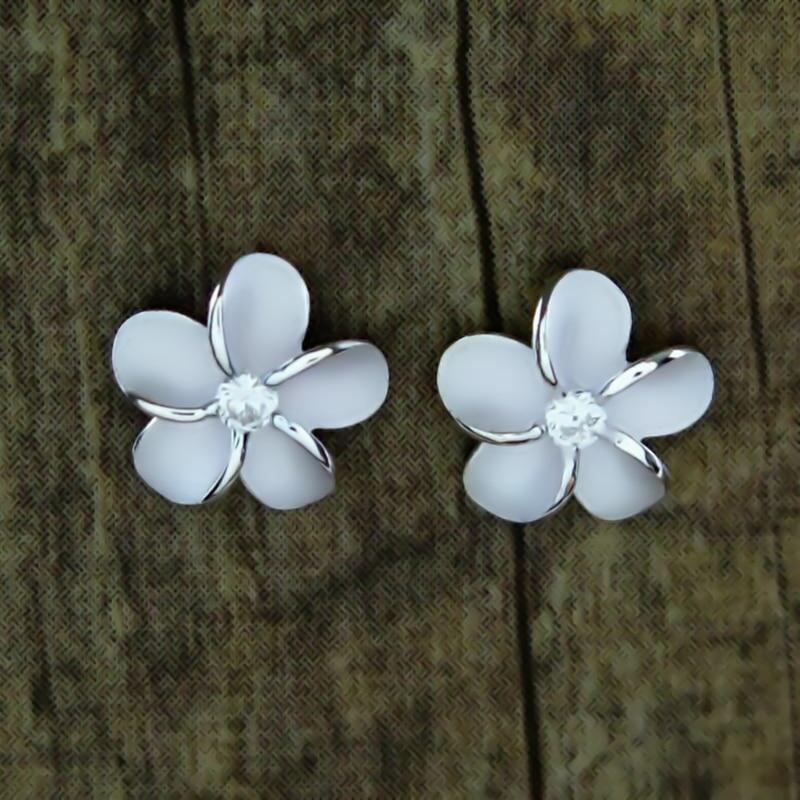Cute Dainty Female Silver Color Plumeria Hawaii Flowers Post Stud Earrings Ladies Jewelry Gift