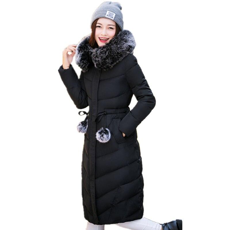 Kabanlar Coat Kış Ceket Kadınlar Kore Moda İnce Kürk Yaka Kapşonlu Uzun Aşağı Parka Artı Boyutu Giyim Casual Palto C211
