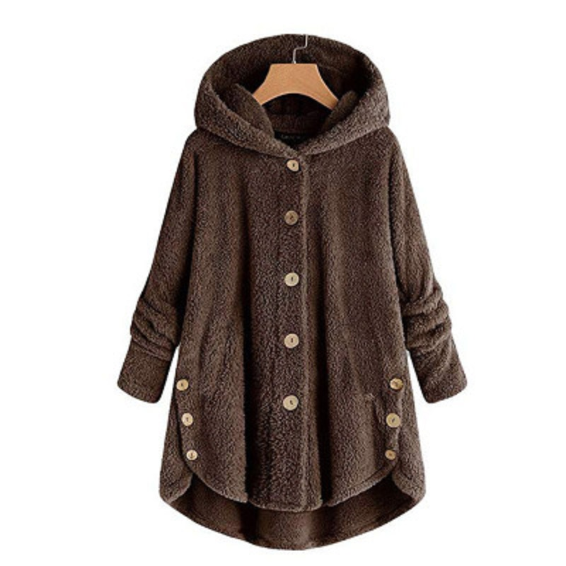 Dropshiping Winter Coat Women Hooded Coat Fashion Female Solid Button Coat Fluffy Tail Tops Hooded Pullover Loose Plus Size