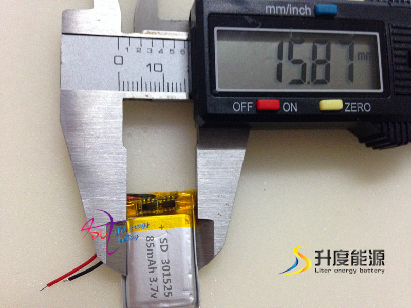 <font><b>301525</b></font> 3.7v 85mAh li-ion rechargeable ul listed battery prices image