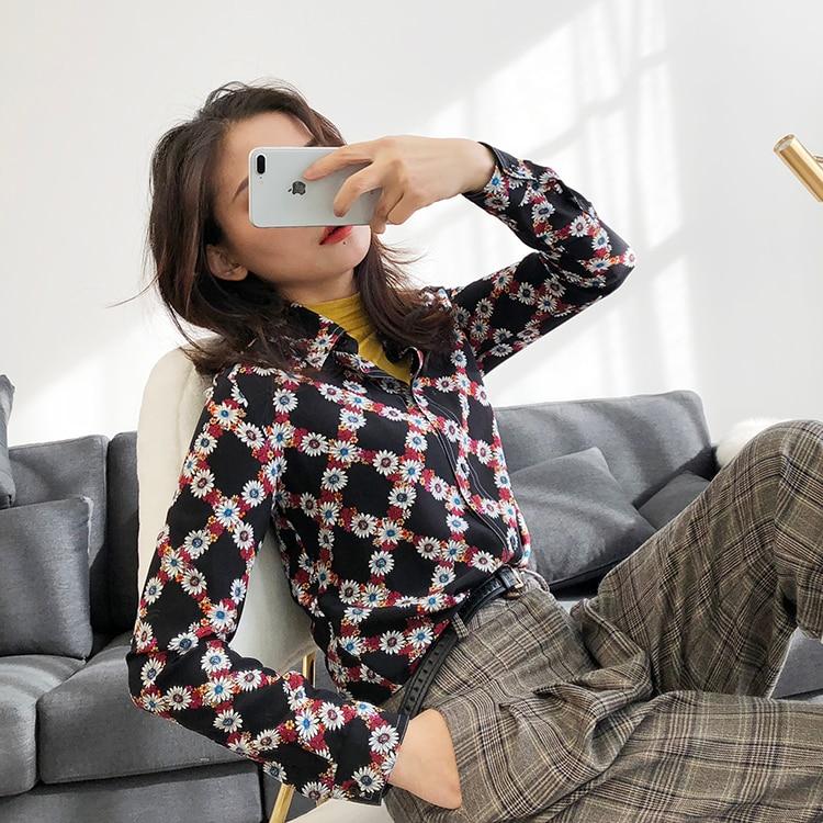 Blusas Elegante Donna Di Naturale In Lunga Camicie Vestito Vintage 100  Magliette Floreale Manica Stampato Blusa Seta Delle Donne E Camicette xnZCHf 594bf15f5a2