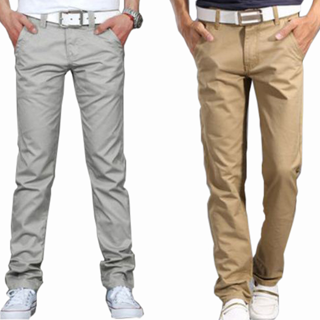 2016 Summer casual pants male straight loose trousers thin men's clothing slim 100% cotton long male trousers khaki green