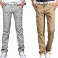 2016 Verão calças casuais masculinos reta calças largas finas roupas masculinas fino 100% algodão calças masculinas cáqui verde