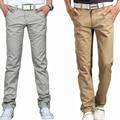 2016 Verano pantalones ocasionales flojos rectos masculinos pantalones delgados ropa de hombre delgado 100% algodón largos pantalones masculinos de color caqui verde