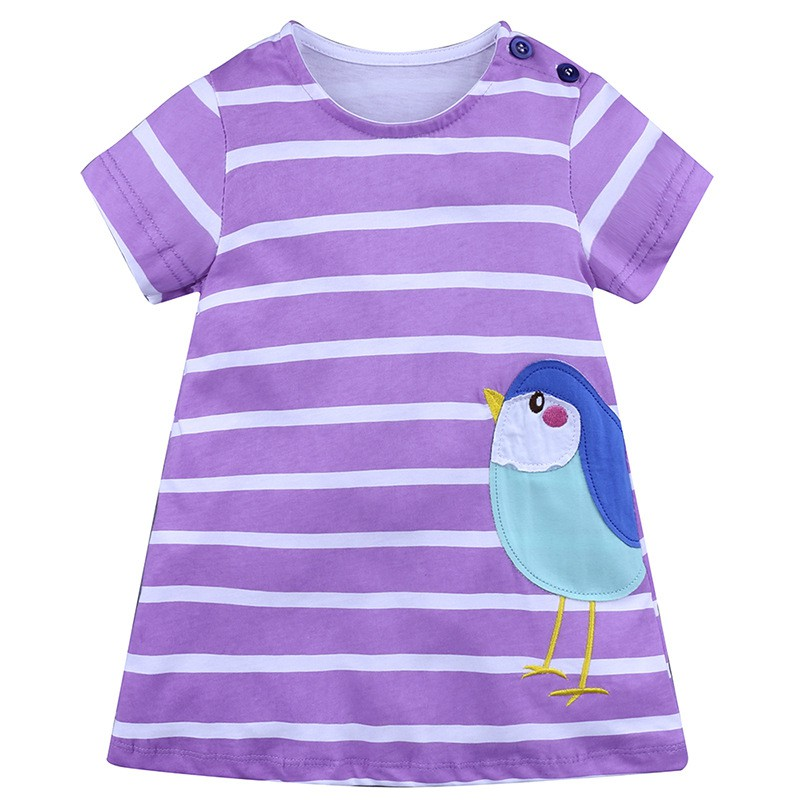 Casual Baby Girl Dress With Strip Pattern And Short Sleeve Comfortable For Kids Dressing In Different Places