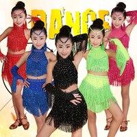 Tassels Girls Professional latin Dance dress Kids Salsa Performance Costumes competition skating Dancewear dresses Outfits