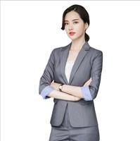 Korean Style Ladies Two Piece Trouser Suits Black Gray Womens Formal Set Work Pant Suits Tuxedo Pant Suit for Women Pantsuit 4XL